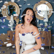 confetti, makeup, wedding dress