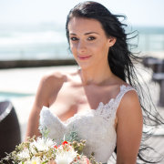 bouquet, makeup, wedding dress