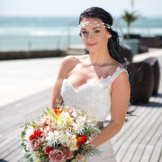bouquet, headband, headpiece, makeup, wedding dress
