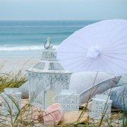 beach, decor, lantern, parasol