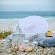beach, lantern, parasol