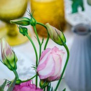 flowers, glassware, table setting