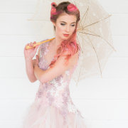 dress, hair, parasol