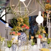 candles, flowers, table setting, glassware