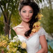 bouquet, dress, hair