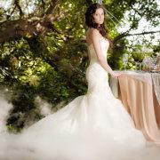 forest, wedding dress