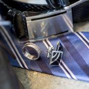 belt, cuff link, tie, wedding ring