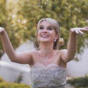 confetti, wedding dress