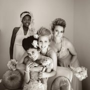 bouquet, bridesmaid dress, hairstyle, headpiece