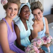 bouquet, bridesmaid dress, hairstyle, headband, makeup