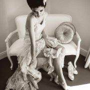 garter, hairstyle, seating, shoes, wedding dress