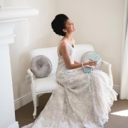 hairstyle, seating, wedding dress