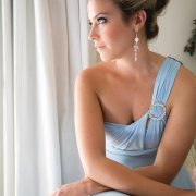 bridesmaid dress, earrings, hairstyle, makeup