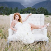 hairstyle, seating, shoes, wedding dress