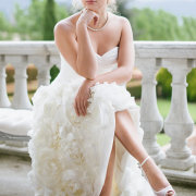 hairstyle, necklace, shoes, wedding dress