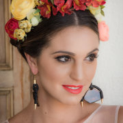 earrings, headpiece, makeup