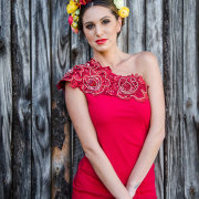 headpiece, makeup, wedding dress, red