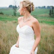earrings, hairpins, hairstyle, wedding dress
