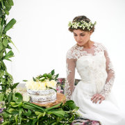 cake, headpiece, wedding dress