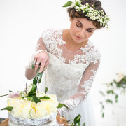 cake, headpiece, makeup, wedding dress