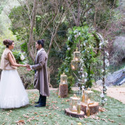 arch, forest, suit, wedding dress