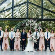 bridal party, floral arch