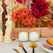 cutlery, hydrangeas, table settings