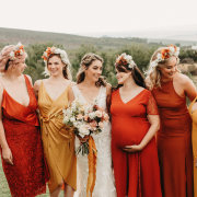 bride and bridemaids, flower crowns