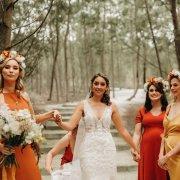 bride, bride and bridesmaids, flower crown