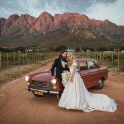 bride and groom, bride and groom, bride and groom, car, transport, winelands, mountain views