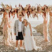 beach wedding, bride and groom, bride and groom, bride and groom, floral wedding arch