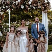 bridal party, floral arch