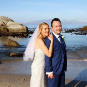 beach, bride and groom, suit, veil, wedding dress