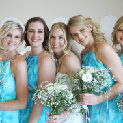 bouquet, bridesmaids dresses, hairstyle
