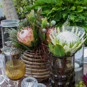 decor, flowers, glassware, protea