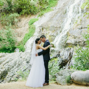 bride and groom, waterfall