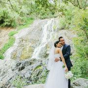 bouquet, veil, waterfall