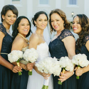 bouquet, bridesmaids, navy blue, dresses