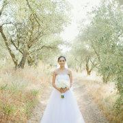 bouquet, bride, forest, wedding dress