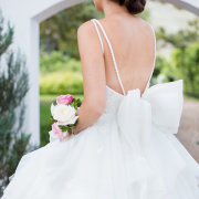 beaded, bow, wedding dress