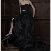 black, dress, two piece