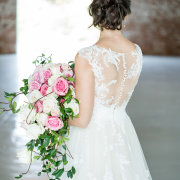 bouquet, lace, pink roses, wedding dress
