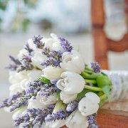 boquet, lavender, white tulips