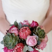 bouquet, proteas and roses
