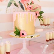 gold, pink, wedding cake