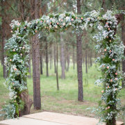 ceremony, forest, flower arch