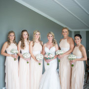 bouquet, bride, bridesmaids, nude, peach