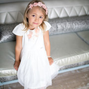 accessories, flower girl, headband, pink, white dress