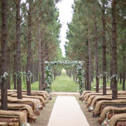 aisle, arch, ceremony, forest, rustic