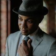 grooms accessories, hat, suit, tie, watch